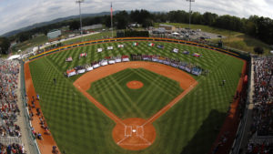 The 16 Little League Regional Champions ring the infield of Volunteer Stadium during the opening ceremony of the 2019 Little League World Series tournament in South Williamsport, Pa.,Thursday, Aug. 15, 2019. (AP Photo/Gene J. Puskar)